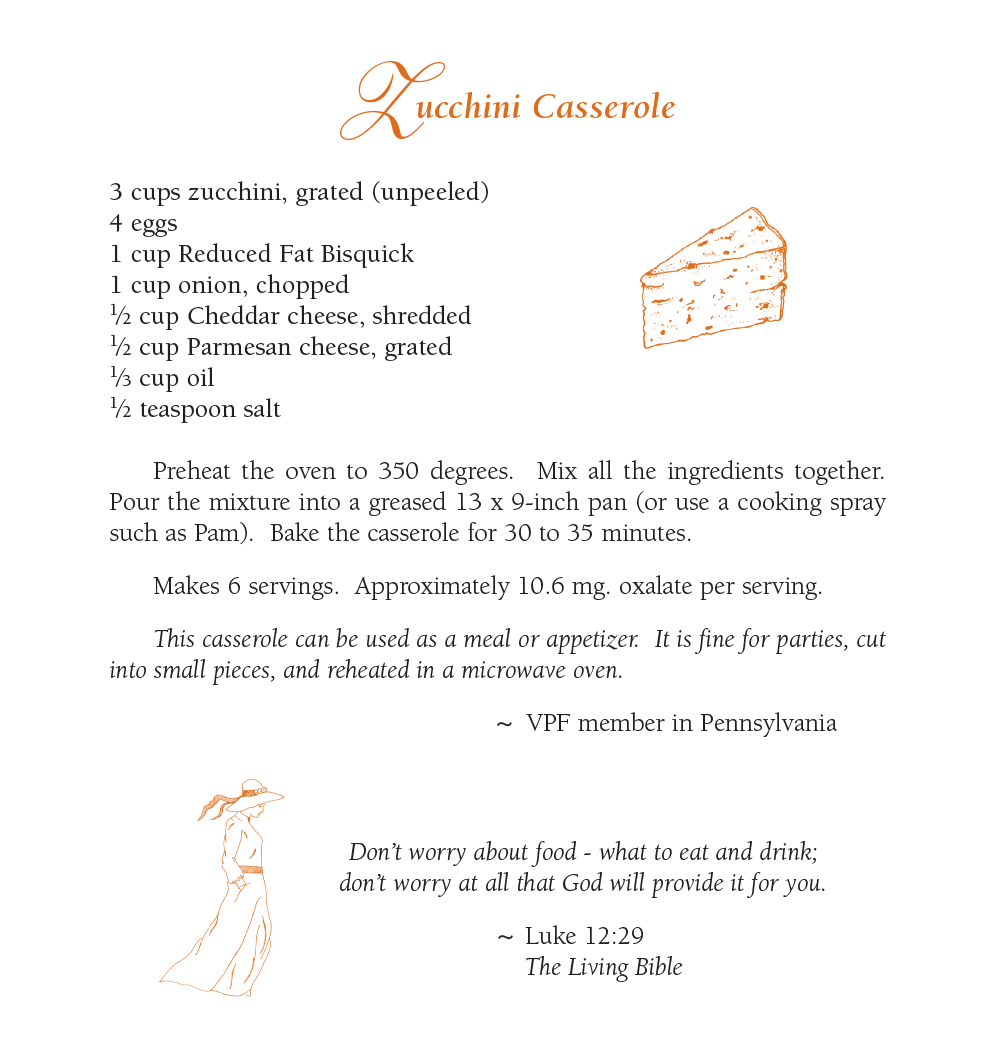 Zucchini Casserole - Featured Low Oxalate Recipe September 2019